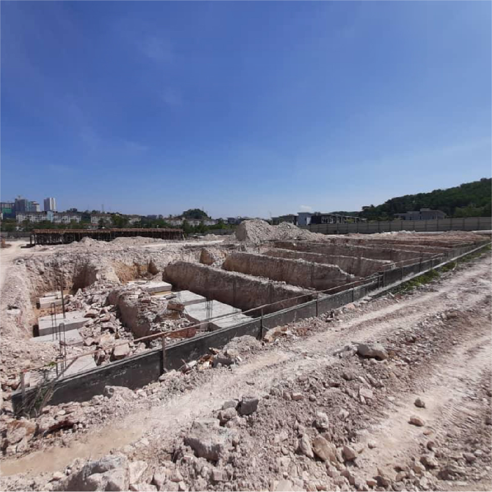 Block 7 – excavation of footing in progress